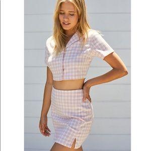 Brandy Melville J Galt Vivian Top & Cara Skirt set